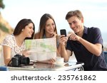 group of young tourist friends... | Shutterstock . vector #235761862
