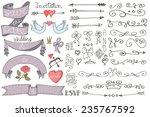 doodles swirl border arrow... | Shutterstock .eps vector #235767592