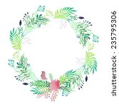 watercolor floral wreath.... | Shutterstock .eps vector #235795306