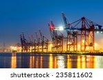 container cranes in hamburgs... | Shutterstock . vector #235811602