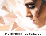 woman with body art on face and ... | Shutterstock . vector #235821736