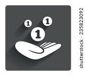 donation hand sign icon. hand...