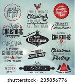 christmas greeting card badges... | Shutterstock .eps vector #235856776