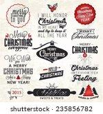 christmas greeting card badges... | Shutterstock .eps vector #235856782