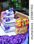gift boxes. pile of colorful...   Shutterstock . vector #235887502
