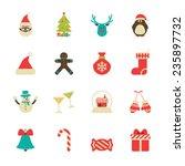 vintage christmas icon set ... | Shutterstock .eps vector #235897732