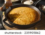 Stock photo homemade southern style cornbread in a skillet 235905862