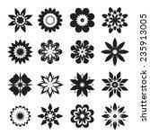 set of black geometric flowers | Shutterstock .eps vector #235913005