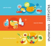 healthy eating flat banner set... | Shutterstock .eps vector #235914766