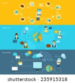 chat flat banner set with voice ... | Shutterstock .eps vector #235915318