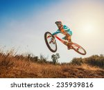 downhill cycling. man high jump ... | Shutterstock . vector #235939816