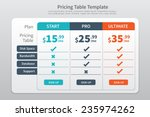 pricing table template  with...   Shutterstock .eps vector #235974262