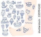 cute cartoon hand drawn doodle... | Shutterstock .eps vector #235994182