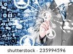 man hand pressing social media... | Shutterstock . vector #235994596