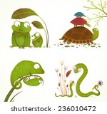 cartoon reptile animals parent... | Shutterstock .eps vector #236010472