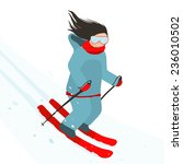 young sporty girl skiing... | Shutterstock .eps vector #236010502