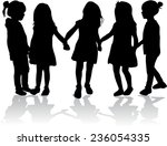 children silhouettes | Shutterstock .eps vector #236054335