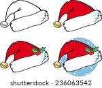 cartoon christmas santa hat.... | Shutterstock .eps vector #236063542