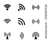 vector black wireless icon set... | Shutterstock .eps vector #236069326