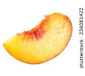 peach. slice of fruit isolated... | Shutterstock . vector #236081422