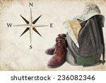 Old Hiking Boots  Backpack  Ha...