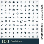 100 beach icon on white... | Shutterstock . vector #236106526