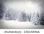 christmas background with snowy ... | Shutterstock . vector #236146966