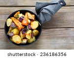 roasted pieces of vegetables in ... | Shutterstock . vector #236186356