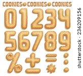 cookie font  numbers part 2 2 | Shutterstock .eps vector #236209156
