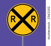 Rail Road Crossing Sign   Vector