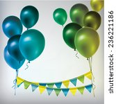 colorful balloons and paper... | Shutterstock .eps vector #236221186