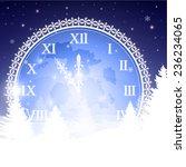 clock face christmas night | Shutterstock .eps vector #236234065