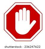 Stop  Red Octagonal Stop Hand...