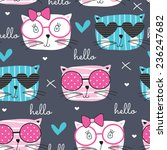 Cute Fashion Cat Pattern Vecto...