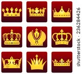 vector set of red square royal... | Shutterstock .eps vector #236284426