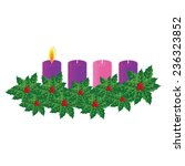 vector advent wreath with one... | Shutterstock .eps vector #236323852
