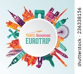 Vector illustration of travel famous monuments of Europe | Shutterstock vector #236338156