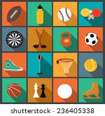 vector flat icons set with long ... | Shutterstock .eps vector #236405338