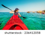 kayaking. woman floating on the ... | Shutterstock . vector #236412058