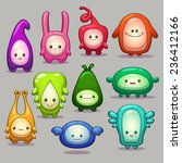 Set Of Funny Cartoon Colorful...