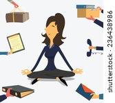 businesswoman doing yoga to... | Shutterstock .eps vector #236438986