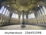 HDR image of an Ornate Church Sanctuary. Chapter House in the Wells Cathedral, Somerset, UK
