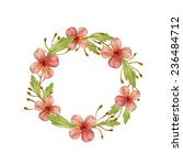floral wreath watercolor. frame ... | Shutterstock . vector #236484712