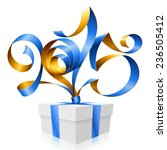 vector blue golden ribbon in... | Shutterstock .eps vector #236505412