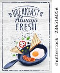 breakfast poster. fried eggs... | Shutterstock .eps vector #236516056
