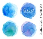 Bright blue watercolor painted vector stains set | Shutterstock vector #236532556