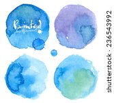 bright blue watercolor painted... | Shutterstock .eps vector #236543992