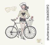 hipster teenage girl on her... | Shutterstock .eps vector #236600392