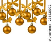 christmas golden balls with... | Shutterstock . vector #236620072
