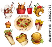 fast food decorative colored... | Shutterstock . vector #236623066